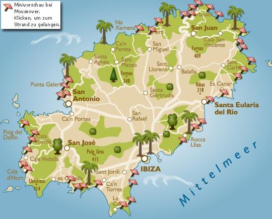 Ibiza Karte Playa D En Bossa.Strände Auf Ibiza Mit Karte Der Schönste Strand Der Insel
